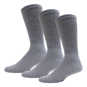 Gray Diabetic Crew Cotton Socks With Ribbed Nonbinding Top 3 Pack