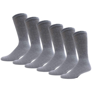 Gray Diabetic Crew Cotton Socks With Ribbed Nonbinding Top 6 Pack