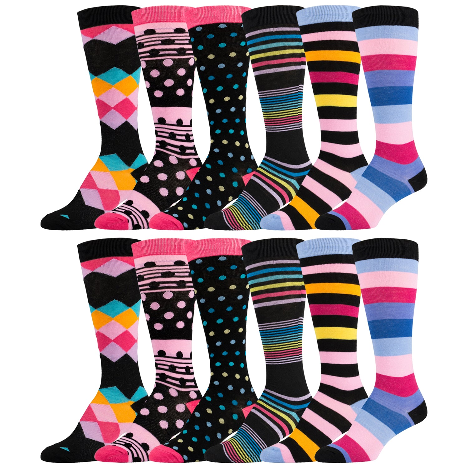 12 Pairs of Fancy Designed Colorful Knee High Socks Striped and Dotted
