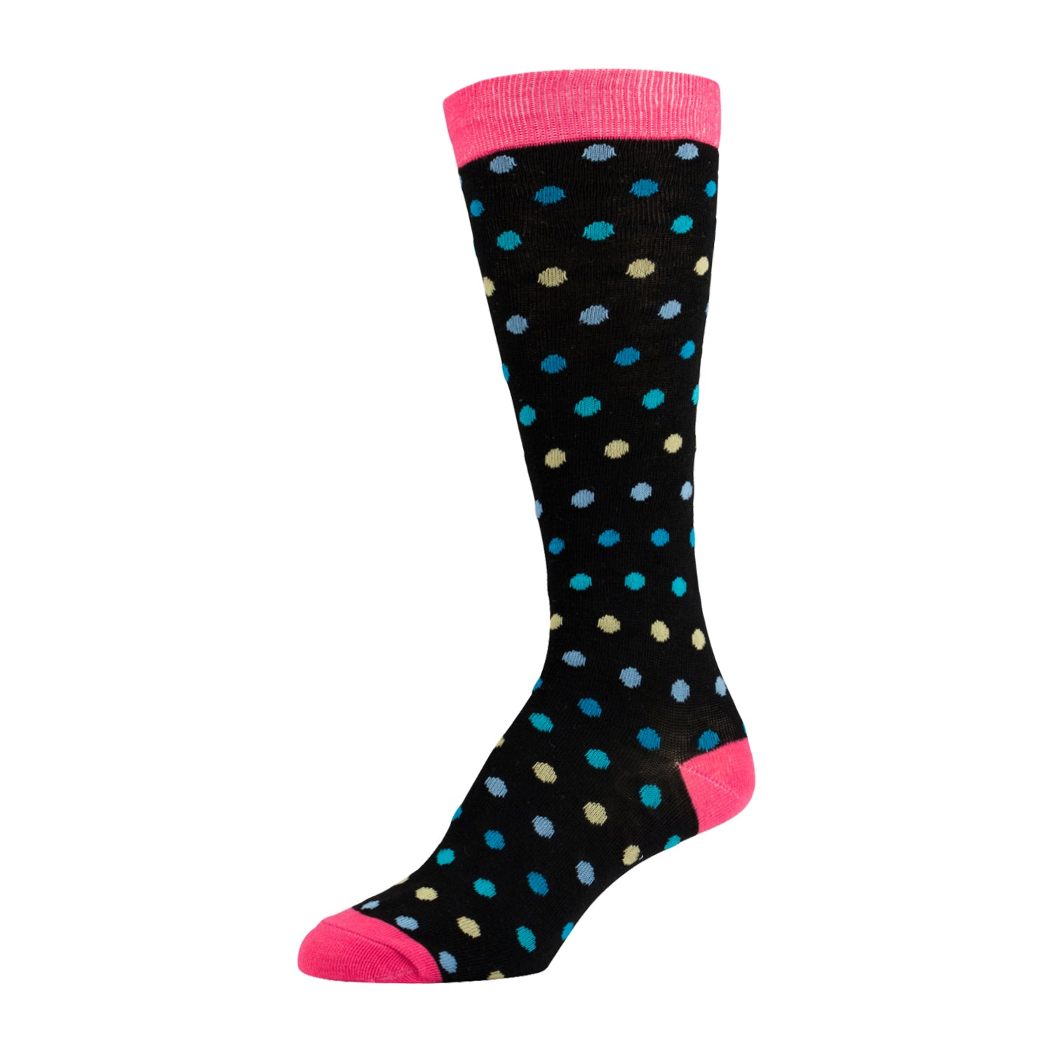 Multicolor Dotted Knee High Sock With Pink Heel and Toe