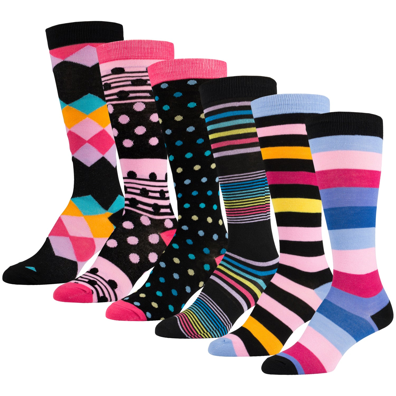 6 Pairs of Fancy Designed Colorful Knee High Socks Striped and Dotted