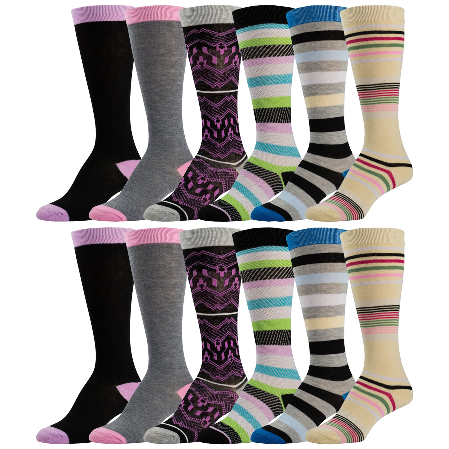 12 Pairs of Colorful Knee High Socks Solids and Patterned