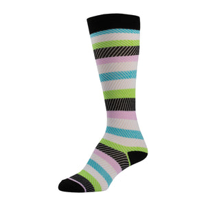Multicolored Striped Knee High Sock With Black Top