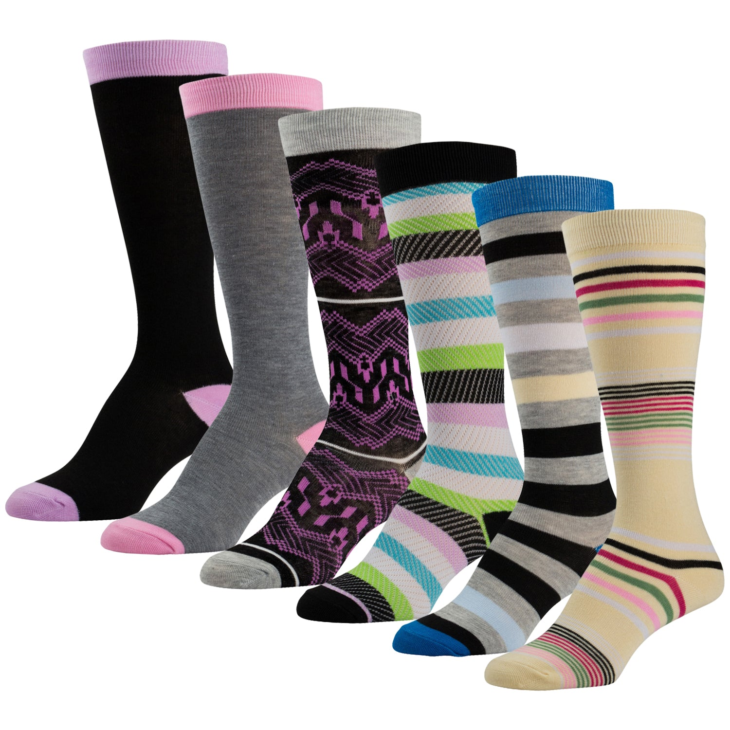 6 Pairs of Colorful Knee High Socks Solids and Patterned