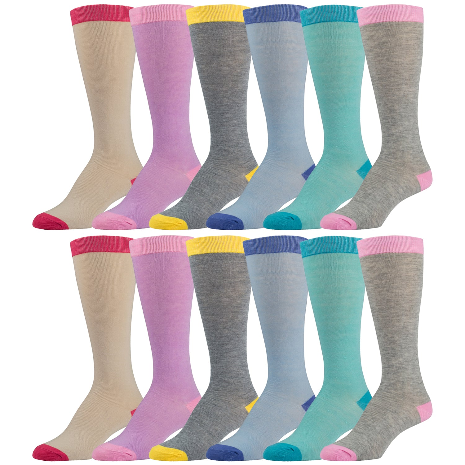 12 Pairs of Colorful Knee High Socks With Multicolored Tops