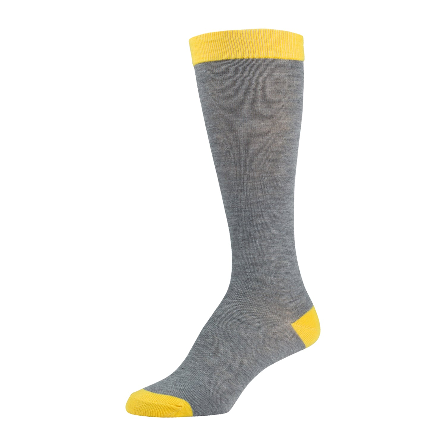 Heather Grey Knee High Sock With Yellow Toe Heel And Top