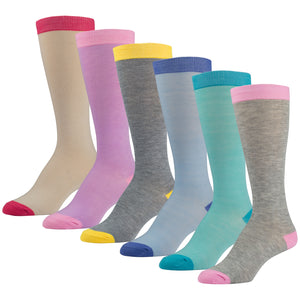 6 Pairs of Colorful Knee High Socks With Multicolored Tops