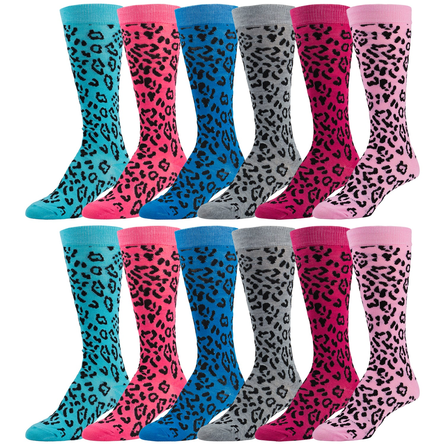 12 Pairs of Colorful Leopard Printed Knee High Socks