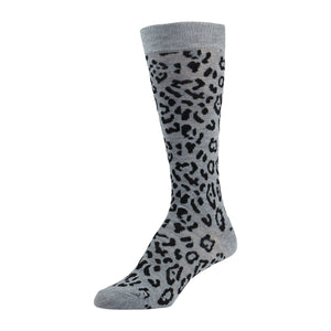 Grey Knee High Sock With Leopard Print and Solid Colored Toe And Heel