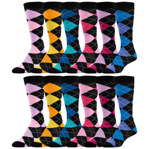 12 Pairs of Colorful Argyle Printed Knee High Socks
