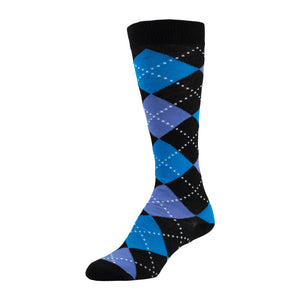 Black and Blue Knee High Sock With Argyle Pattern