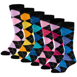 6 Pairs of Colorful Argyle Printed Knee High Socks