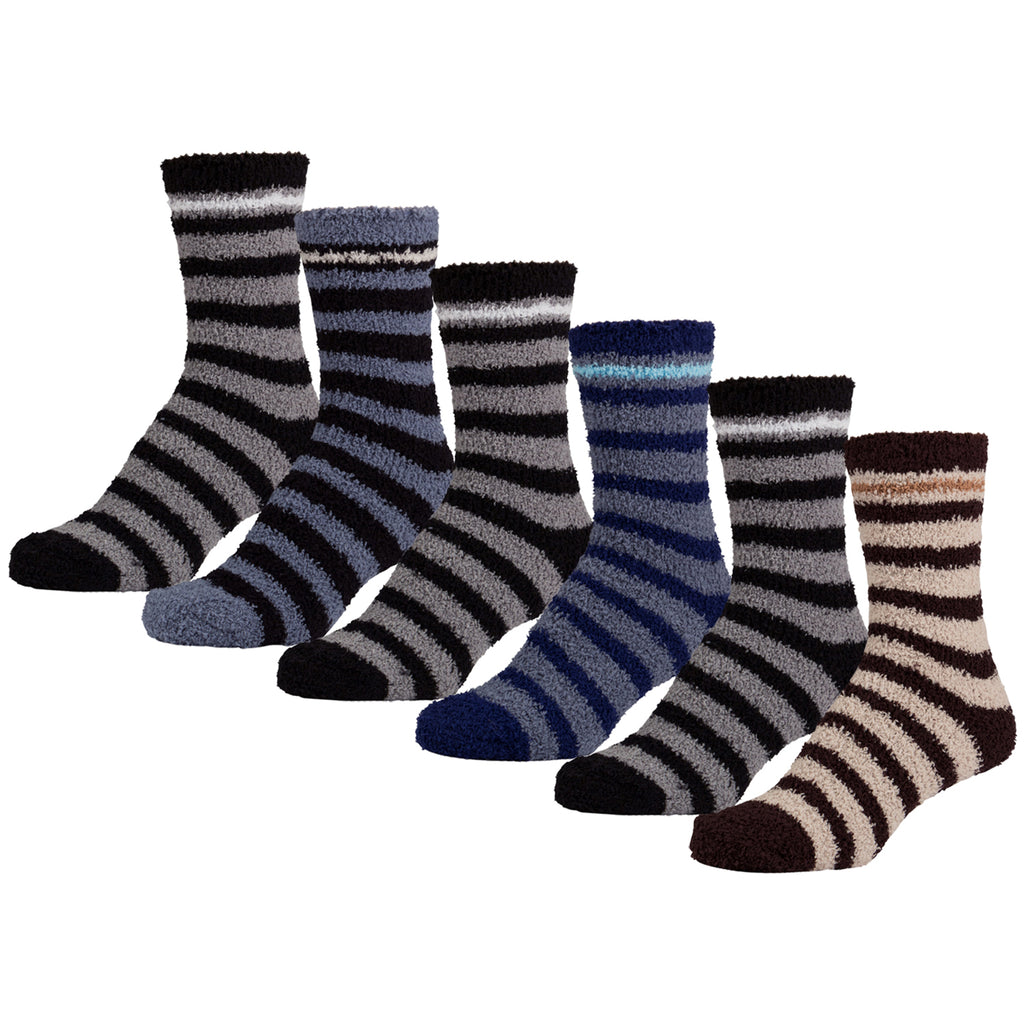 6 Pairs of Women's Fuzzy Soft Slipper Socks with Stripes, Size 9-11