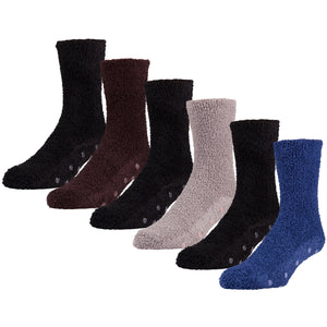 6 pairs of Fuzzy Non Skid Soft Warm Crew Socks with Dot Gripper, Size 10-13