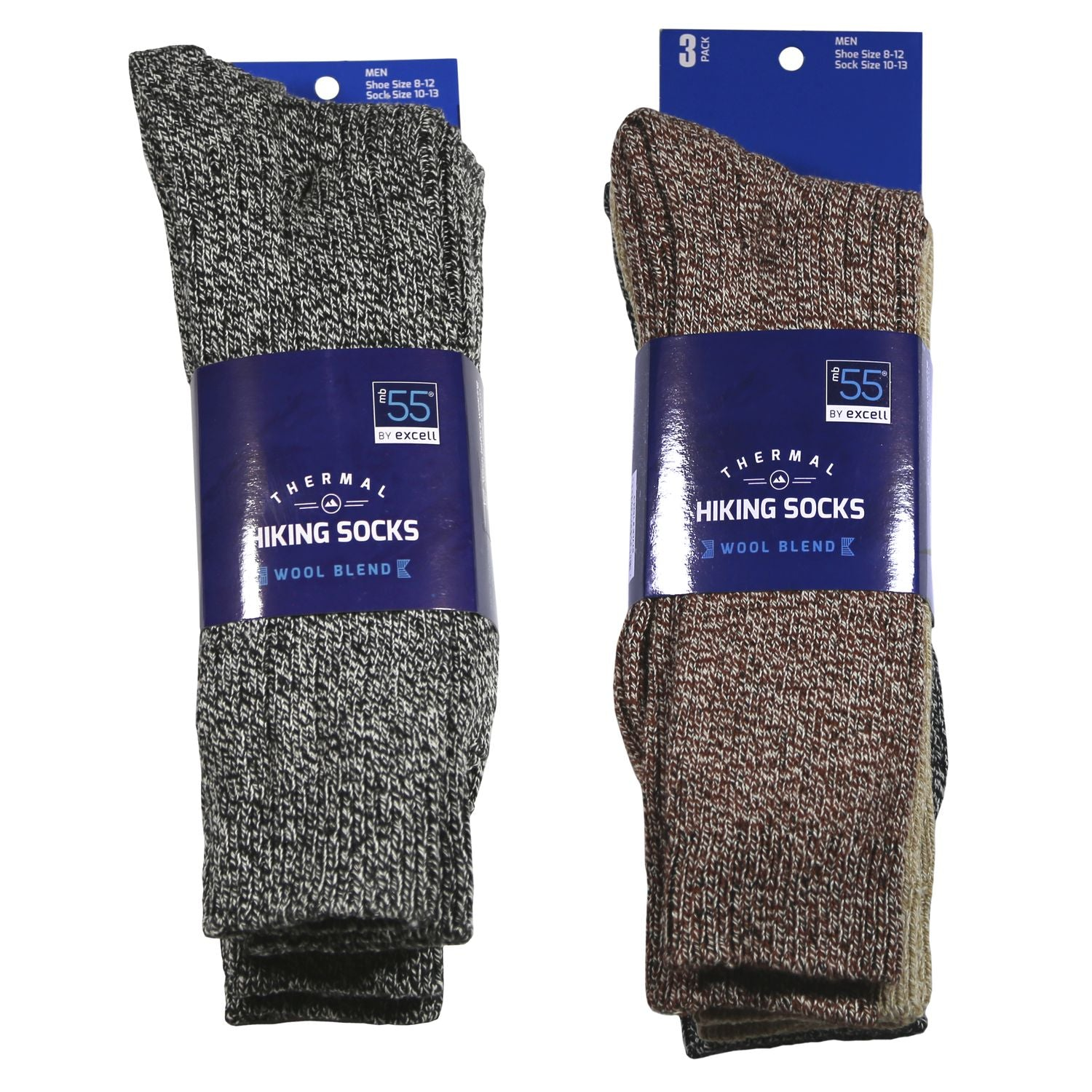 Merino Wool Socks, Warm Crew Thermal Socks For Winter, Men's and Women's Extreme Cold Weather Socks, Dark Colors, Size 10-13