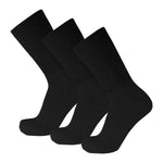 Black Crew Socks Cotton Soft With Wide Nonbinding Top 3 Pairs