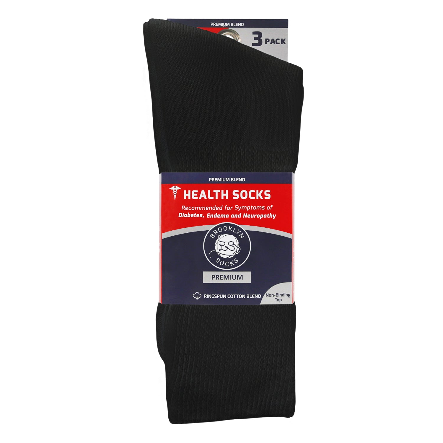 blue and red packaging  of 3 folded black diabetic loose top socks