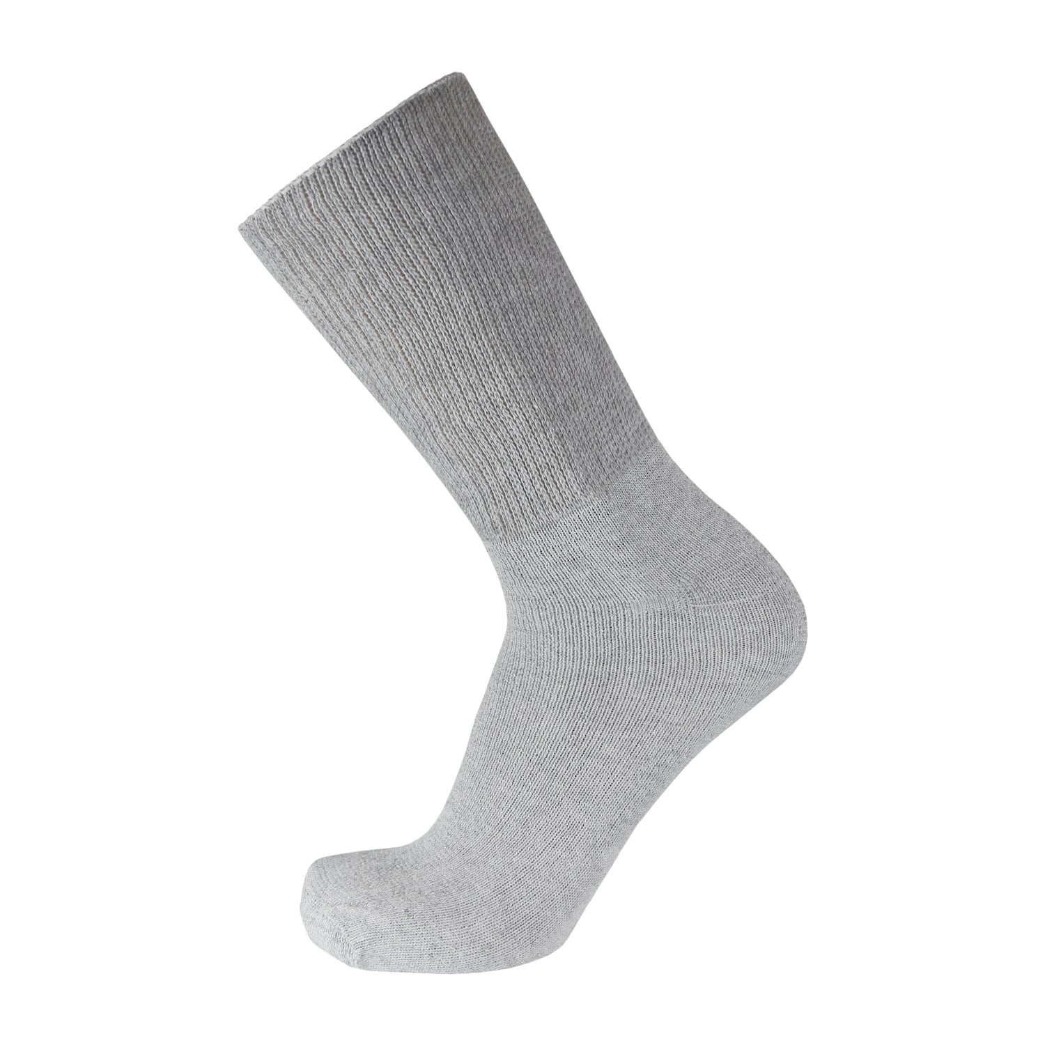 Gray Cotton Diabetic Crew Socks With Wide Nonbinding Top