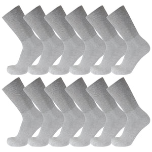 Gray Cotton Diabetic Crew Socks With Wide Nonbinding Top 12 Pack