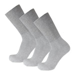 Gray Cotton Diabetic Crew Socks With Wide Nonbinding Top 3 Pack