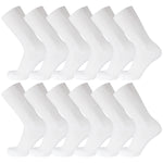 White Cotton Diabetic Crew Socks With Wide Nonbinding Top 12 Pairs