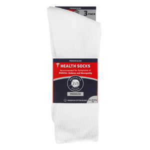 blue and red packaging  of 3 folded white diabetic loose top socks