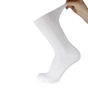 White Diabetic Socks Of Crew Length With Stretched Out Top
