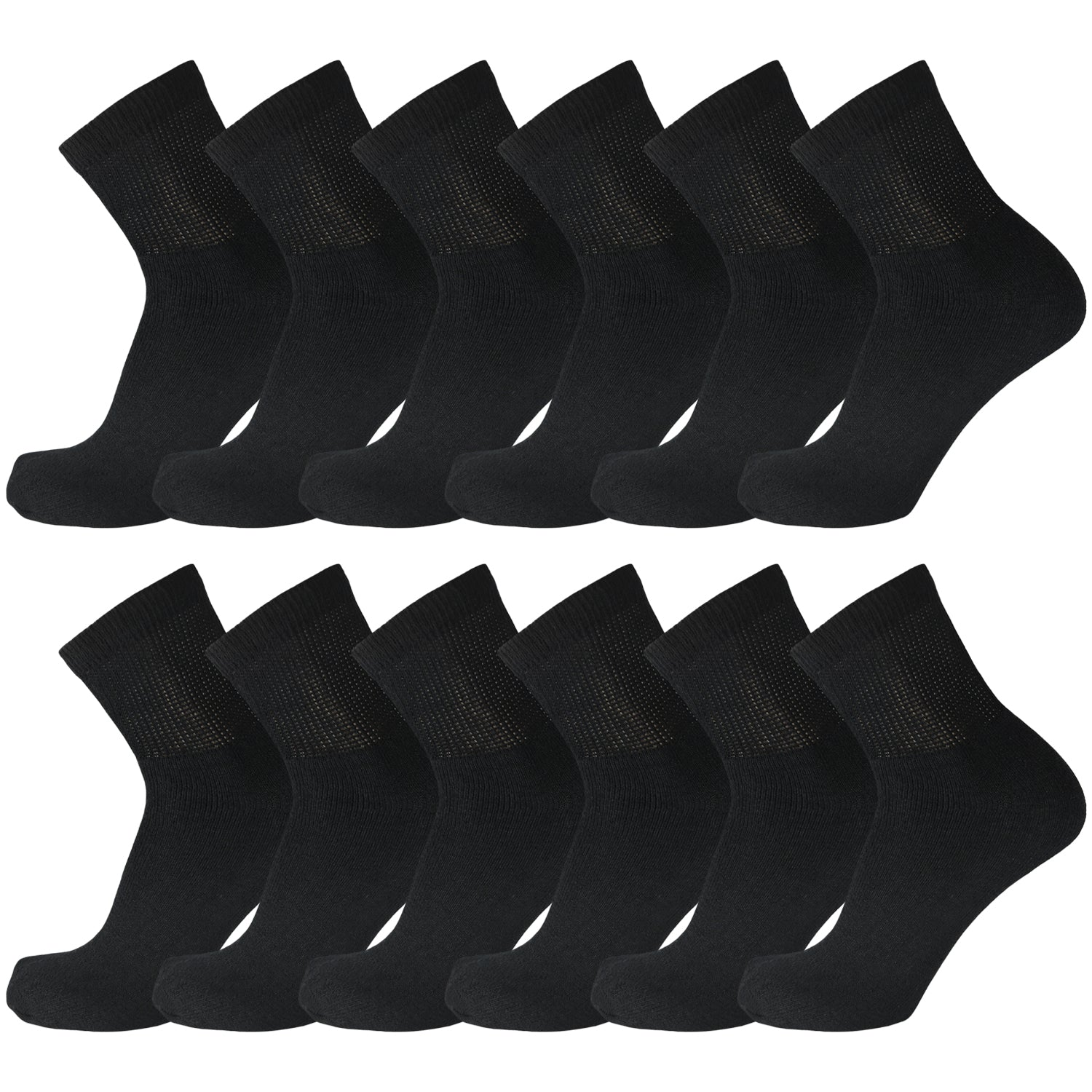 Black Non Binding Cotton Diabetic Ankle Socks 12 Pairs