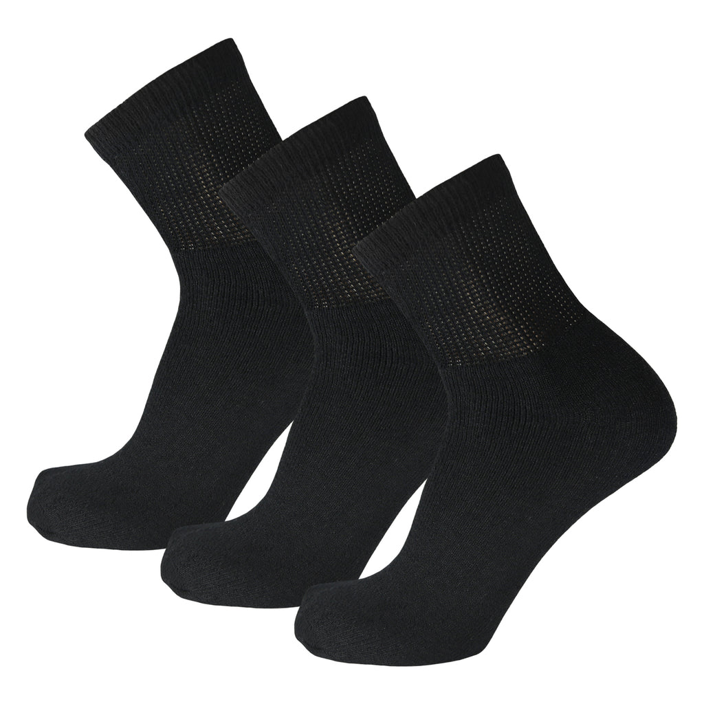 Black Non Binding Cotton Diabetic Ankle Socks 3 Pairs