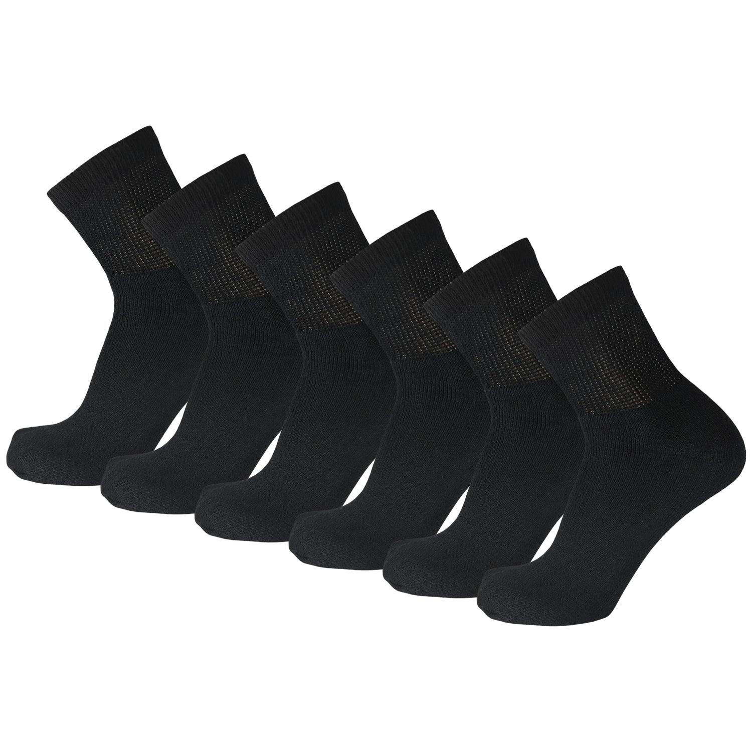 Black Non Binding Cotton Diabetic Ankle Socks 6 Pairs