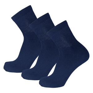 Navy Diabetic Non Binding Ankle Socks 3 Pairs