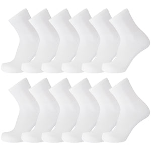 Non Binding Diabetic White Ankle Socks 12 Pairs