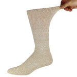 Brown Marled Crew Socks With Stretched Top
