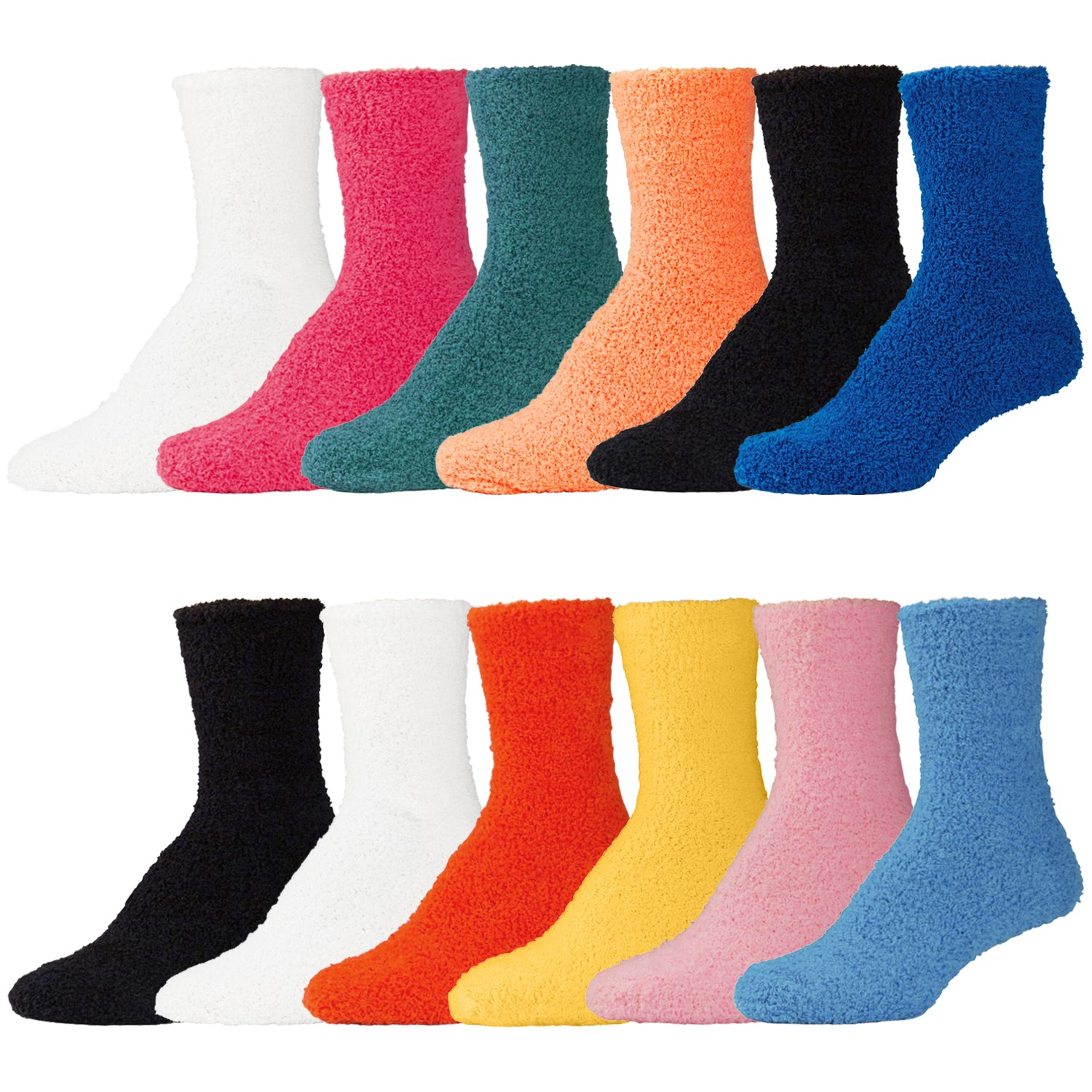 Womens Multicolored Fluffy Fuzzy Slipper Socks - 12 Pairs