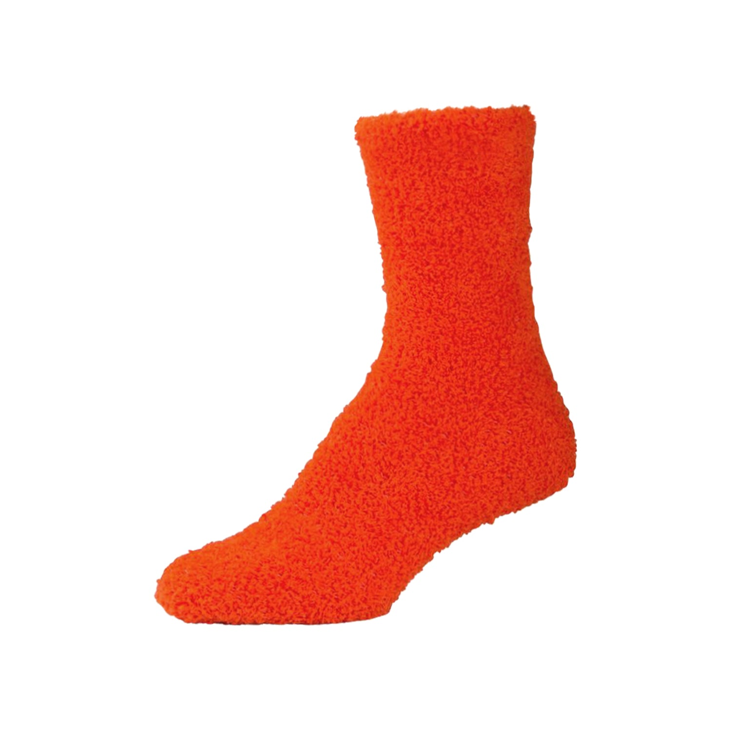 Womens Fluffy Dark Orange Fuzzy Socks