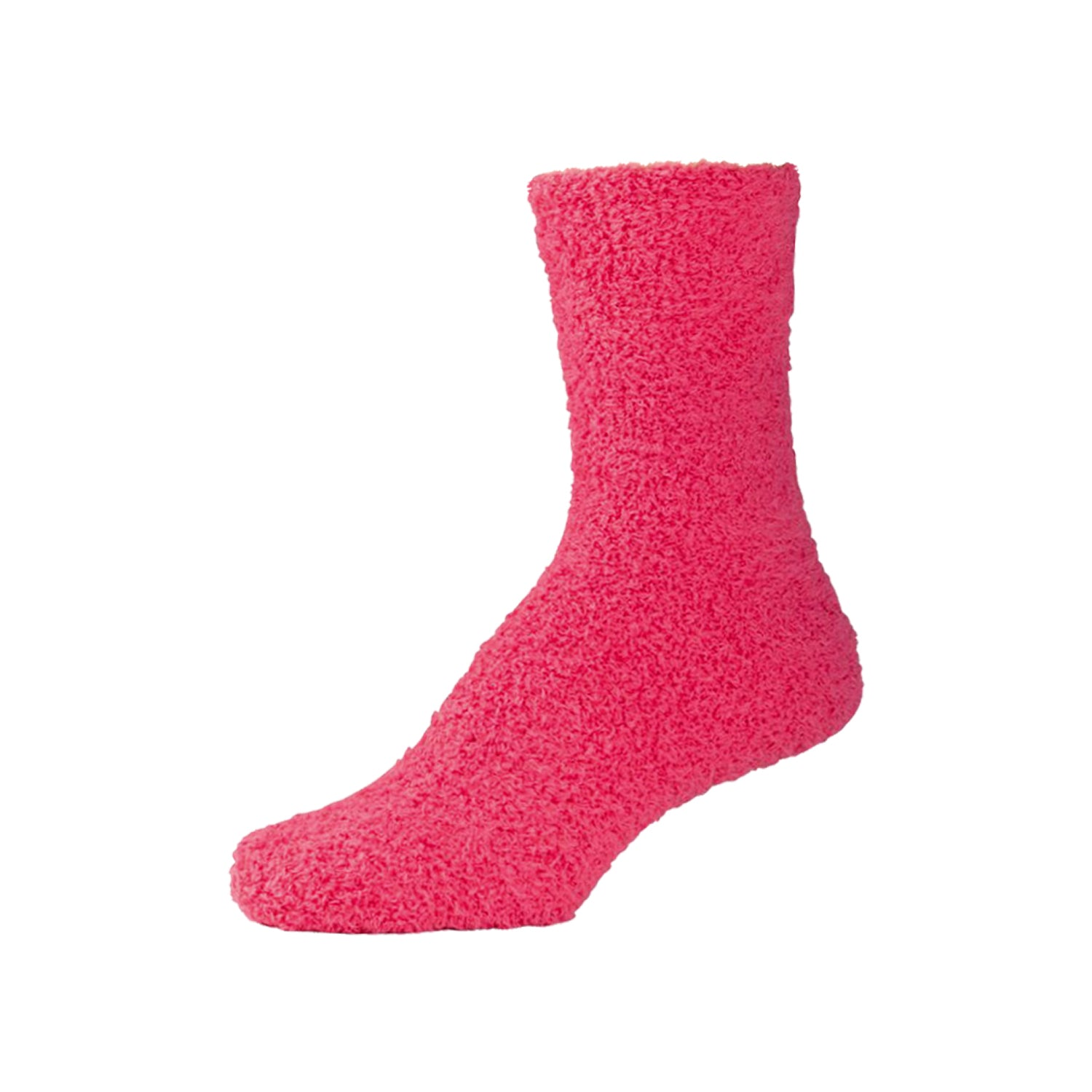 Womens Fluffy Dark Pink Fuzzy Socks