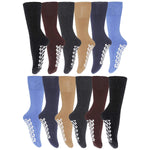 Colorful Loose Top Mens Socks With Grippers On The Bottom Blue Black Navy Gray 12 Pack