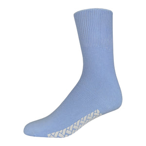 Blue Women's Hospital Socks With The Rubber On The Bottom Of Them And Loose Top