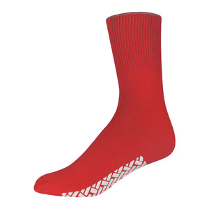 Red Women's Hospital Socks With The Rubber On The Bottom Of Them And Loose Top