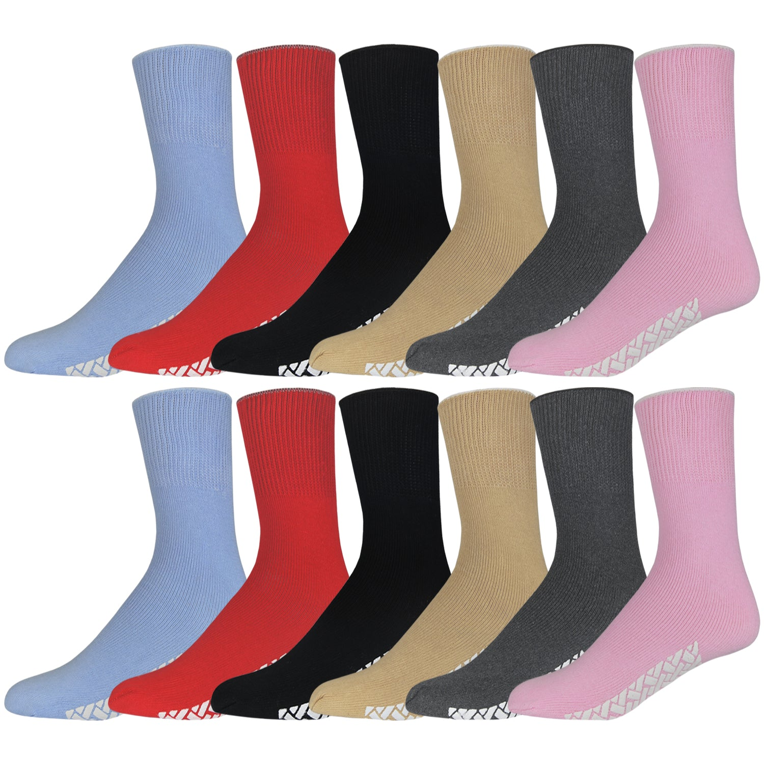 Colorful Women's Hospital Socks With The Rubber On The Bottom Of Them And Loose Top 12 Pairs