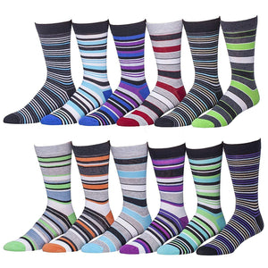 12 Pairs of Men's Dress Socks Assorted Colors and Patterns, Size 10-13