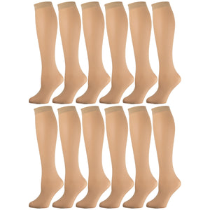 Women'S Opaque Trouser Socks Beige 12 Pairs