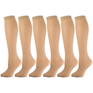 Women'S Opaque Trouser Socks Beige 6 Pairs