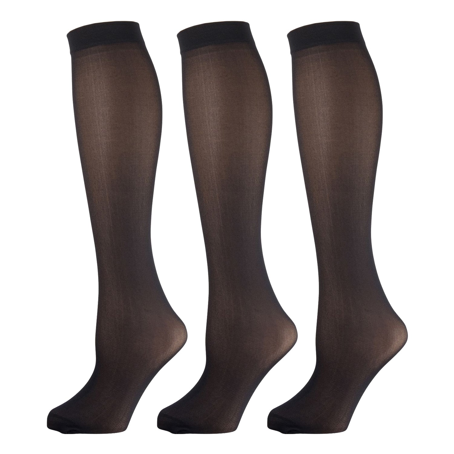 Black Opaque Knee High Trouser Socks 3 Pairs