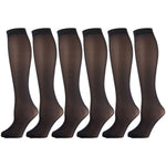 Black Opaque Knee High Trouser Socks 6 Pairs