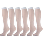 White Opaque Knee High Socks 6 Pairs