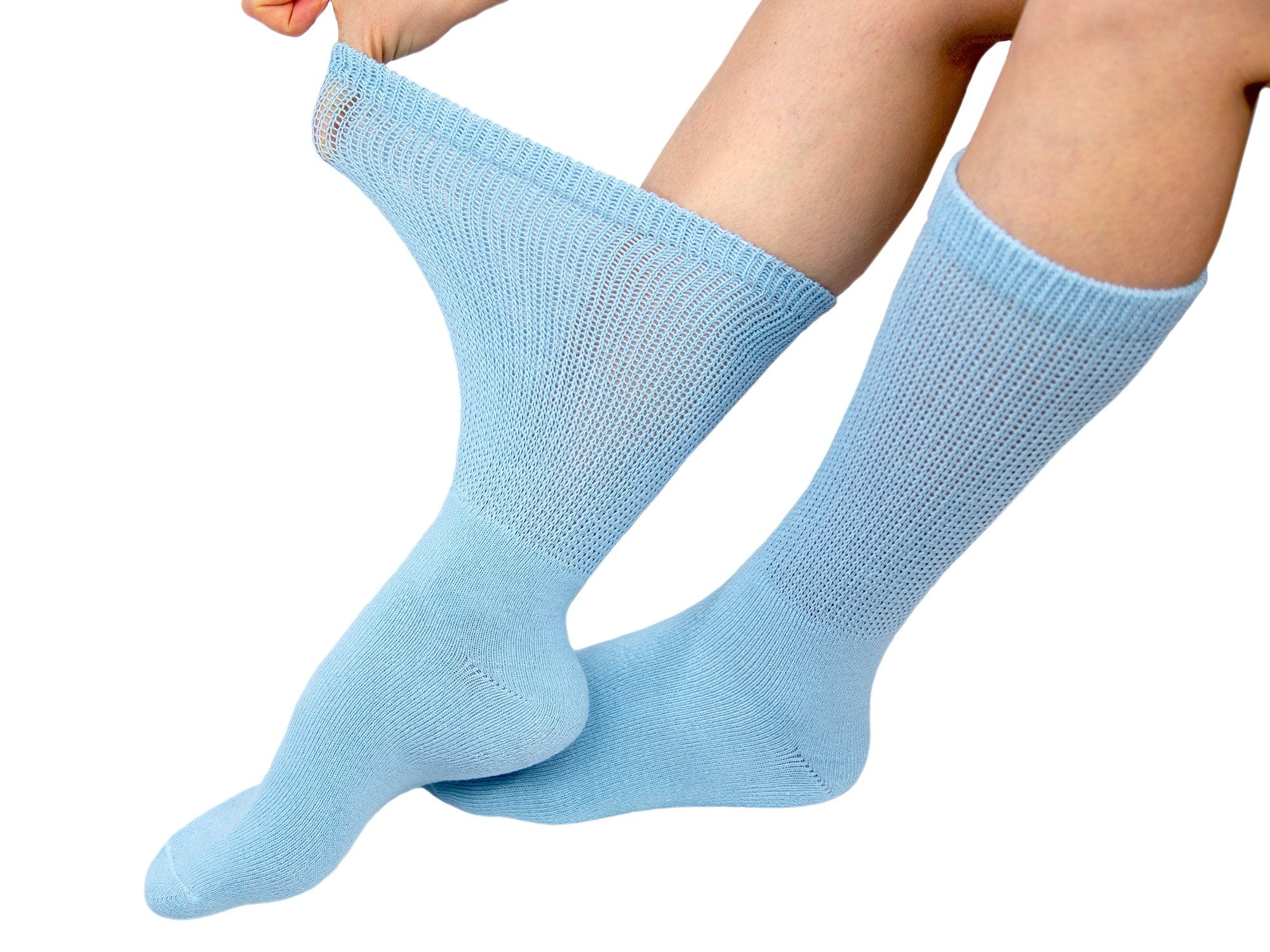 6 Pairs of Premium Women's Colorful Soft Breathable Cotton Crew Socks, Non-Binding & Comfort Diabetic Socks, Fits Shoe Size 6-12