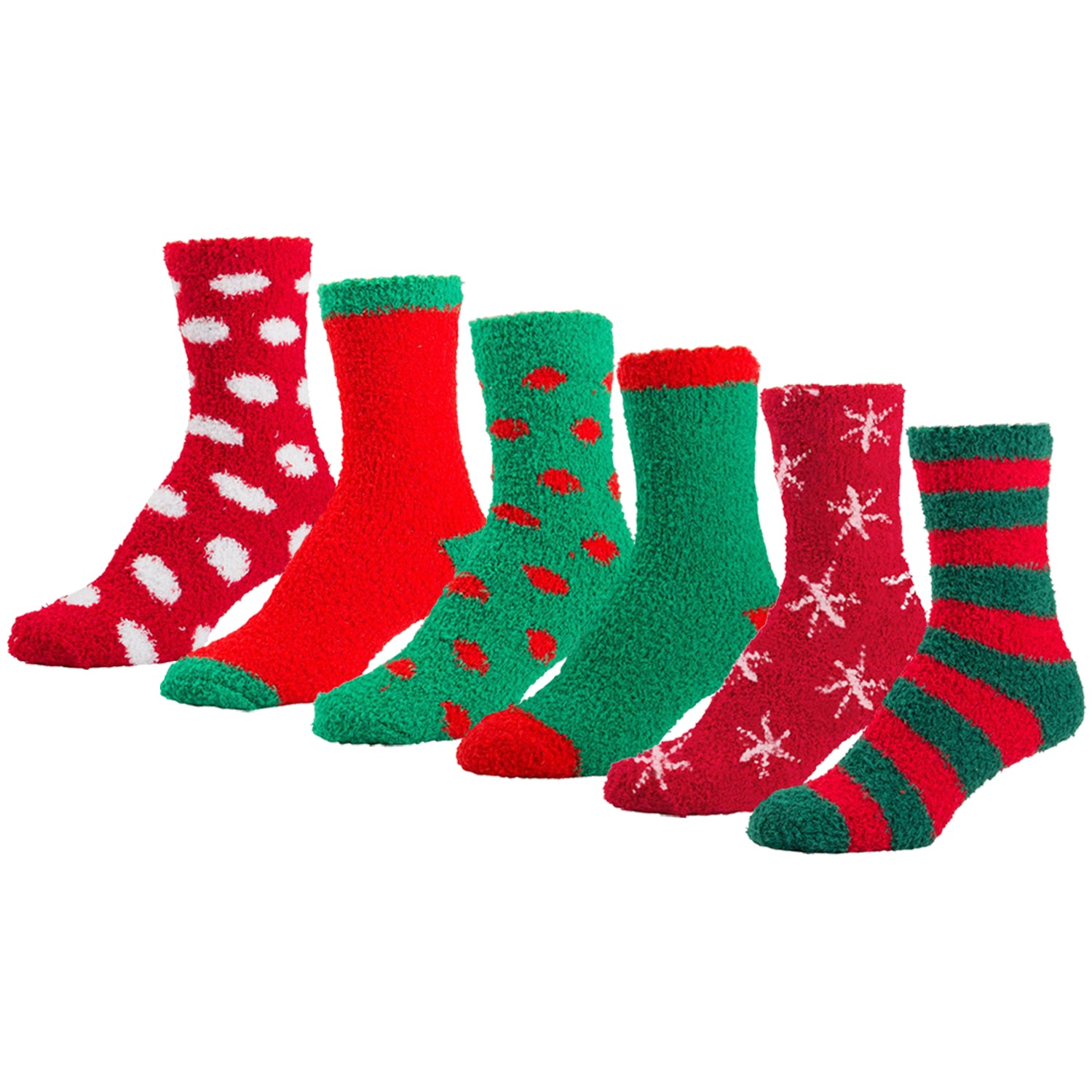 Women's Fuzzy Plush Holiday Slipper Socks, Assorted Fuzzy Christmas, Size 9-11