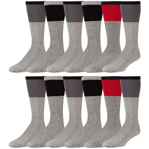 Men's Cotton Blend  Heather Grey Tube Socks For Hiking With Ribbed Colored Tops - 12 Pairs