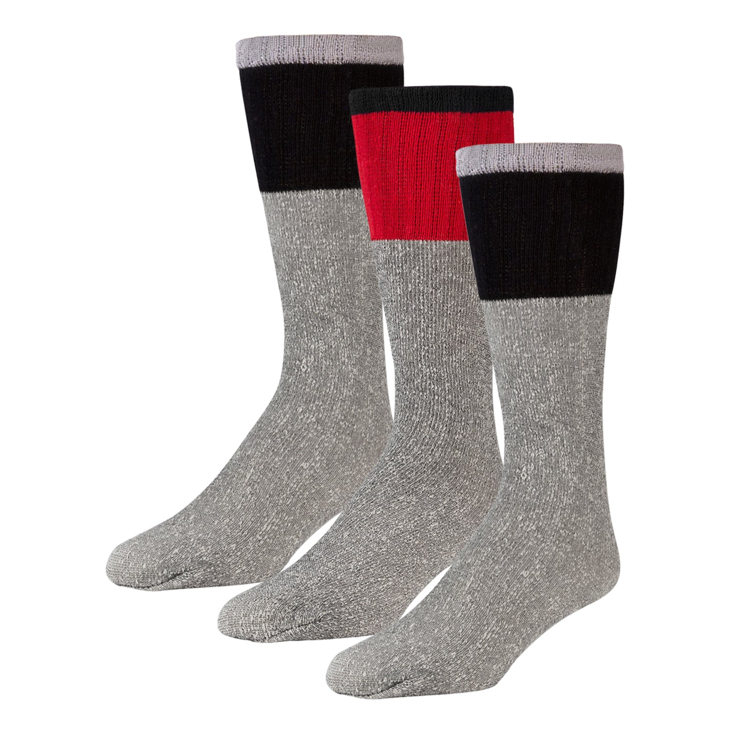 Men's Cotton Blend  Heather Grey Tube Socks For Hiking With Ribbed Colored Tops - 3 Pairs